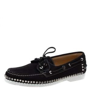 Christian Louboutin Black Suede Steckel Spike Boat Loafers Size 42