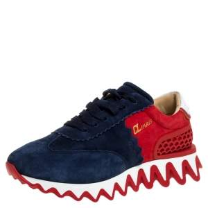 Christian Louboutin Blue/Red Suede And Leather Loubishark Low Top Sneakers Size 41