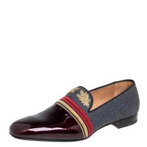 Christian Louboutin Multicolor Patent Leather And Wool Officer Smoking Slippers Size 45
