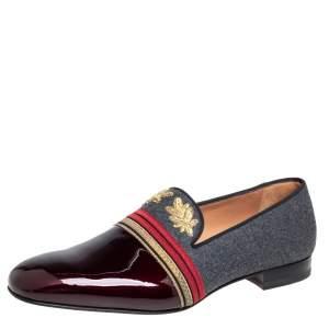 حذاء سليبرز كريستيان لوبوتان سموكينغ أوفيسر صوف وجلد لامع متعدد الألوان مقاس 44