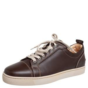 Christian Louboutin Brown Leather Low Top Sneakers Size 42.5