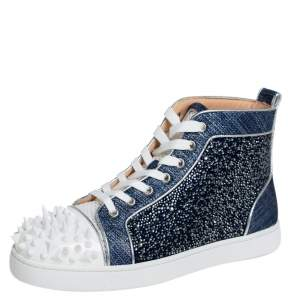 Christian Louboutin Denim Blue Silver White Lou Degra Spikes Studded Hi High Top Sneakers Size 40