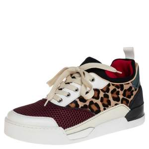 Christian Louboutin Multicolor Leather Fabric and Pony Hair Aurelien Low Top Sneakers Size 40