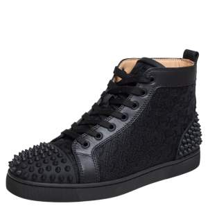 Christian Louboutin Black Leather And Cotton Fabric Lou Spikes 2 High Top Sneakers Size 40
