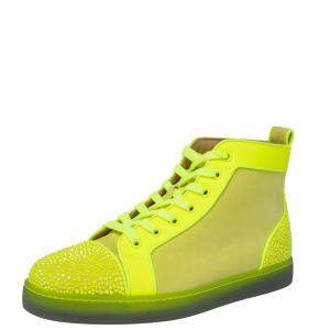 Christian Louboutin Neon Green Suede And Leather Louis P Strass II High Top Sneakers Size 41.5