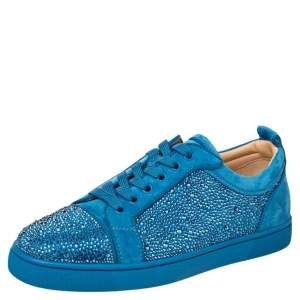 Christian Louboutin Blue Suede Louis Junior Strass Low Top Sneakers Size 40