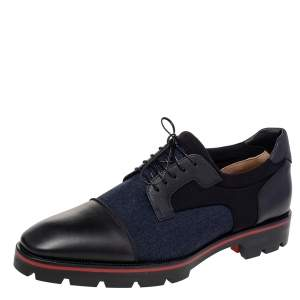 Christian Louboutin Black Leather, Denim, And Neoprene Lace Up Mika Sky Derby Size 44