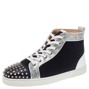 Christian Louboutin Multicolor Mesh And Patent Leather Lou Spikes High Top Sneakers Size 44