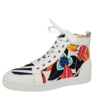 Christian Louboutin Multicolor Floral Canvas and Leather Rantus High Top Sneakers Size 42