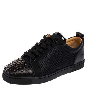 Christian Louboutin Black Leather, Suede and Fabric Louis Junior Spike Low Top Sneakers Size 42