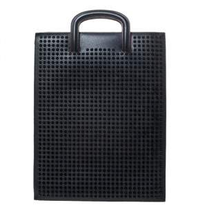 Christian Louboutin Black Leather Spike Trictrac Portfolio Bag