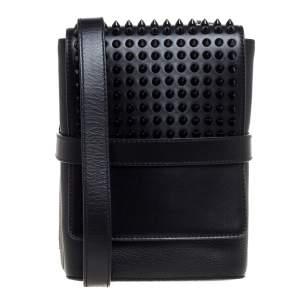 حقيبة كروس كريستيان لوبوتان بينيش ريبورتر مرصعة جلد أسود