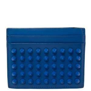 Christian Louboutin Blue Leather Studded Kios Card Holder