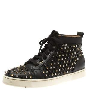 Christian Louboutin Black Leather Louis Spikes High Top Sneakers Size 41.5