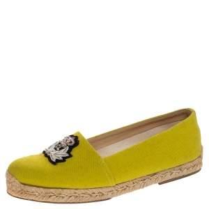 Christian Louboutin Yellow Canvas Nanou Crest Espadrilles Size 38