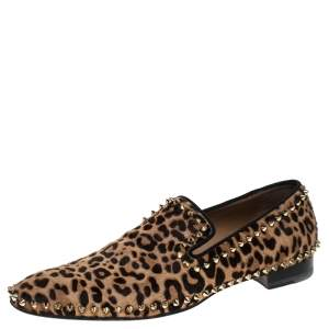 Christian Louboutin Leopard Print Calf Hair Spike Slip-On Size 42