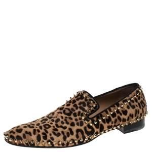 حذاء كريستيان لوبوتان سبايك سليب أون شعر عجل مطبوع نقشة الفهد مقاس 42