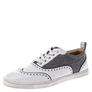 Christian Louboutin White Leather And Grey Check Canvas Brogue Low Top Sneakers Size 43