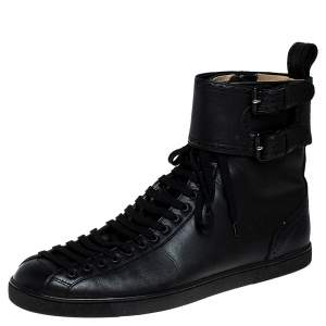 Christian Louboutin Black Leather Lace and Buckle High Top Sneakers Size 44.5