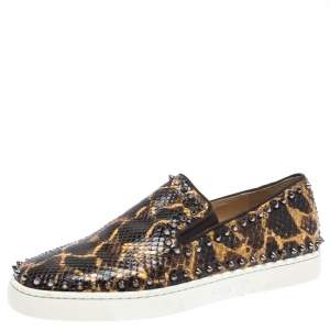 Christian Louboutin Leopard Print Python Leather Pik Boat Slip On Sneakers Size 43.5