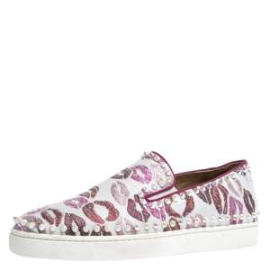 Christian Louboutin Multicolor Kiss Print Canvas Pik Boat Slip On Sneakers Size 41
