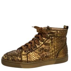 Christian Louboutin Metallic Bronze Python Leather Louis Orlato Lace Up Sneakers Size 42
