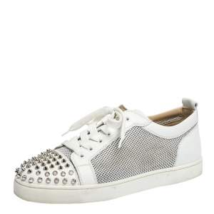 Christian Louboutin White Leather And Mesh Louis Junior Spikes Sneakers Size 41.5