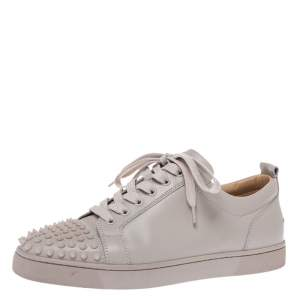 Christian Louboutin Off-White Leather Vieira Spiked Orlato Low Top Sneakers Size 42