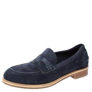 Christian Louboutin Blue Suede Montezumolle Flat Loafers Size 41.5