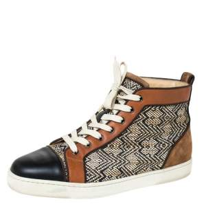 Christian Louboutin Multicolor Woven Raffia And Leather Rantus Orlato High Top Sneakers Size 43