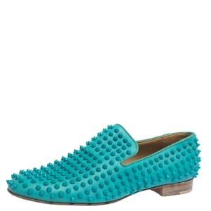 Christian Louboutin Blue Leather Rolling Spikes Loafers Size 41.5