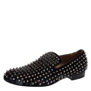 Christian Louboutin Blue Velvet Dandelion Spikes Loafer Size 40
