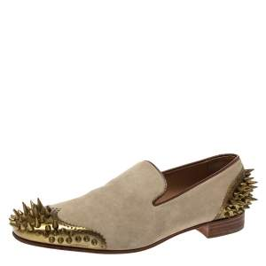 Christian Louboutin Beige Suede Ironito Loafers Size 40