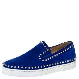 Christian Louboutin Blue Suede Spike Pik Boat Slip On Sneakers Size 39