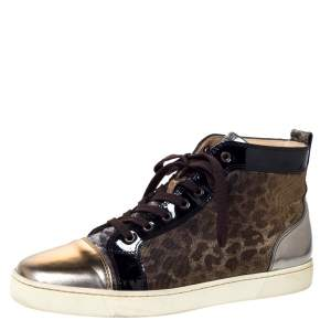 Christian Louboutin Metallic Bronze Leather and Leopard Lame Fabric Louis High Top Sneakers Size 45