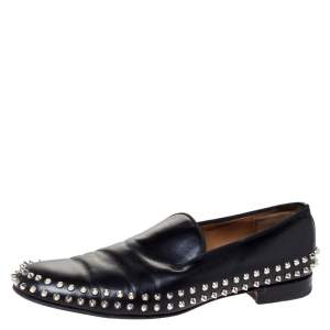 Christian Louboutin Black Leather Rollerboy Spikes Flat Size 44