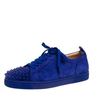 Christian Louboutin Cobalt Blue Suede Louis Junior Spikes Sneakers Size 42.5