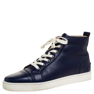 Christian Louboutin Navy Blue Leather Louis High Top Sneakers Size 41.5