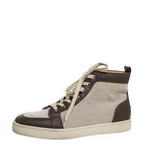 Christian Louboutin Grey/White Leather And Canvas Rantus Orlato High Top Sneakers Size 41.5