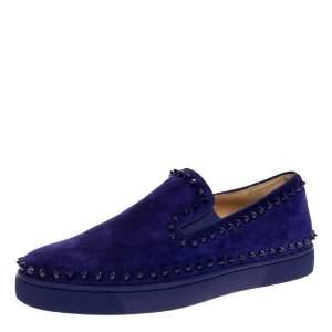 Christian Louboutin Blue Suede Spike Pik Boat Slip On Sneakers Size 40.5