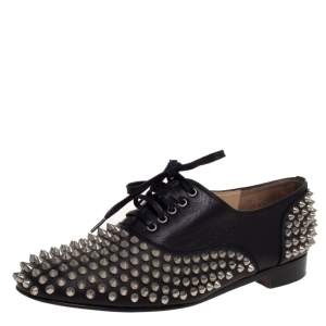 Christian Louboutin Black Leather 'Freddy' Spike Lace Up Oxfords Size 39.5