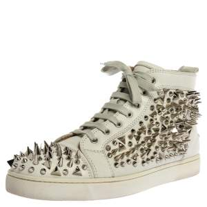 Christian Louboutin White Leather Orlato Spike High Top Sneakers Size 45