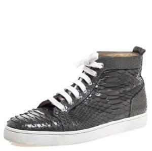 حذاء رياضي كريستيان لوبوتان مرتفع من أعلى لوي جلد ثعبان رمادي مقاس 45