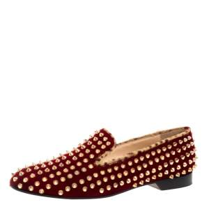 Christian Louboutin Red Velvet Dandelion Spikes Loafer Size 40