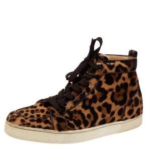 حذاء رياضي كريستيان لوبوتان أورلاتو شعر عجل طباعة حيوان بني مقاس 43