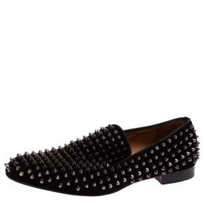 Christian Louboutin Black Suede Dandelion Spikes Loafer Size 42.5