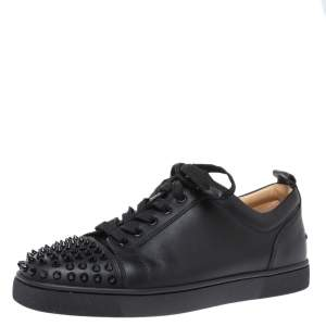 Christian Louboutin Black Leeather Louis Junior Spikes Sneakers Size 41