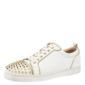 Christian Louboutin White/Gold Spike Leather Louis Chain Trim Low Top Sneakers Size 43