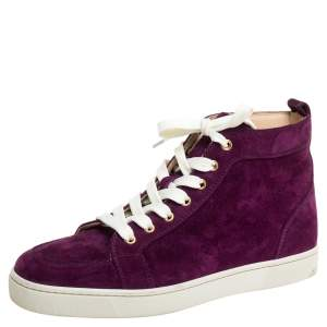 Christian Louboutin Purple Suede High Top Sneakers Size 40