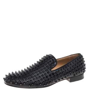 Christian Louboutin Black Leather Rollerboy Spikes Smoking Slippers Size 41